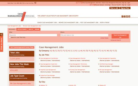 Screenshot of Jobs Page casemanagementcrossing.com - Case Management Jobs, Browse Jobs in Case Management By Job Type, City, State in United States | CasemanagementCrossing.com - captured July 16, 2018