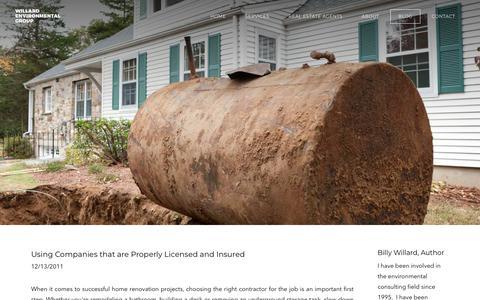 Screenshot of Blog willardenvironmental.com - Oil Tank Services Blog   Tips from Willard Environmental - captured Oct. 18, 2018