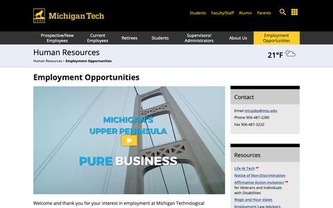 Screenshot of Jobs Page mtu.edu - Employment Opportunities | Human Resources | Michigan Tech - captured Feb. 15, 2019