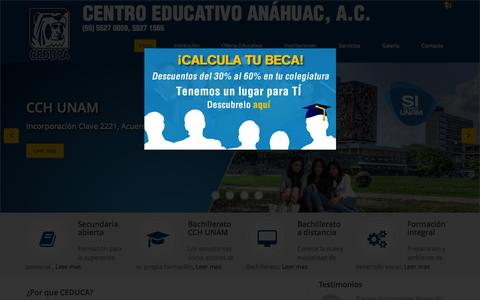Screenshot of Home Page ceduca.edu.mx - CEDUCA | Centro Educativo Anáhuac - captured Aug. 6, 2015
