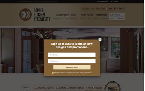 Screenshot of Home Page copperhoods.com - Copper Kitchen Range Hoods - Vent Hoods | Copper Kitchen Specialists - captured Sept. 18, 2015