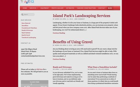 Screenshot of Blog islandparkservices.com - Island Park Services Blog - captured Sept. 30, 2014