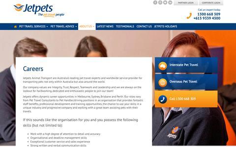 Screenshot of Jobs Page jetpets.com.au - Careers - Jetpets Pet Travel Consultants - captured Oct. 4, 2018