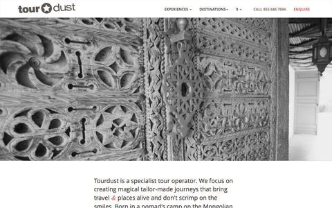 Screenshot of About Page tourdust.com - Tourdust - captured Jan. 24, 2016