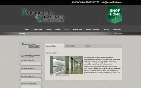 Screenshot of Services Page superblinds.com - Services - Superblinds - captured Oct. 7, 2014