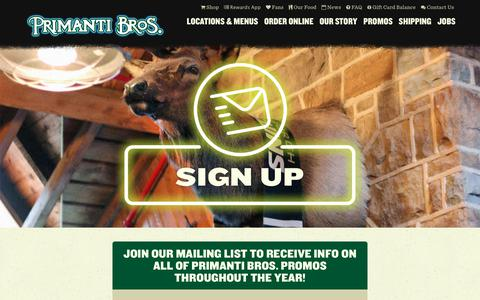 Screenshot of Signup Page primantibros.com - Sign Up for the Mailing List - Primanti Bros. Restaurants - captured Sept. 22, 2018