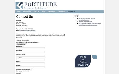 Screenshot of Contact Page fortitudebusiness.com - Contact Us | Fortitude Business Solutions - captured Oct. 6, 2014