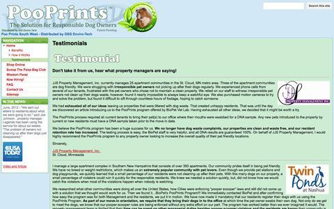 Screenshot of Testimonials Page google.com - Testimonials - Poo Prints South West - Distributed by DSG Enviro-Tech - captured Oct. 27, 2014