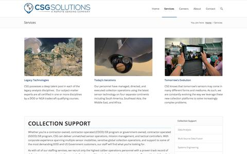 Screenshot of Services Page csg-isr.com - CSG |   Services - captured April 26, 2018