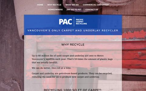 Screenshot of Menu Page pacrecycling.ca - Why Recycle — PAC Recycling - captured July 9, 2016