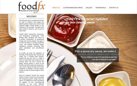 Screenshot of Home Page foodfx.com.au - Food FX Australia | Makers of Fine Foods - captured Oct. 6, 2014