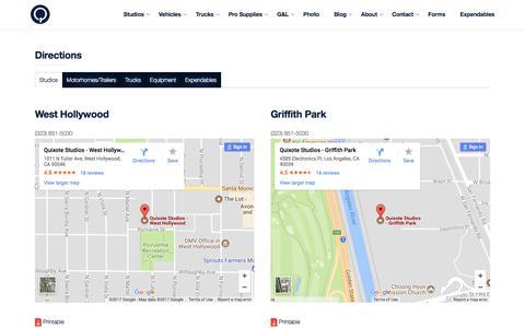 Screenshot of Maps & Directions Page quixote.com - Quixote Studios | Directions - captured Sept. 21, 2017