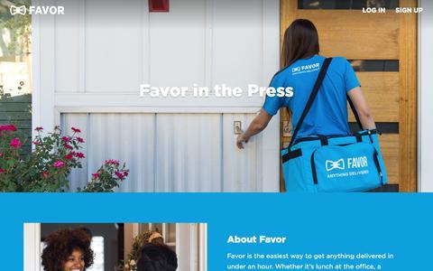 Screenshot of Press Page favordelivery.com - Favor Press and Media Inquiries | Favor Delivery - captured Nov. 18, 2019