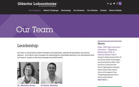 Screenshot of Team Page olfactorlabs.com - Our Team | Olfactor Labs - captured Sept. 12, 2014