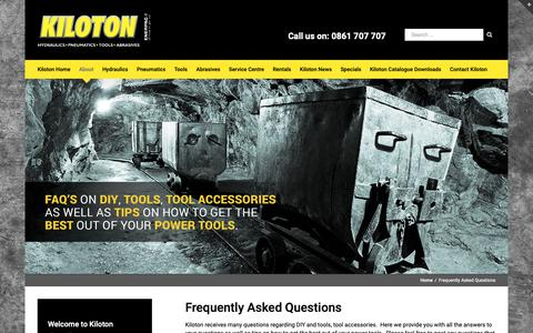 Screenshot of FAQ Page kiloton.co.za - Questions about DIY and tools | Kiloton - captured Oct. 15, 2018