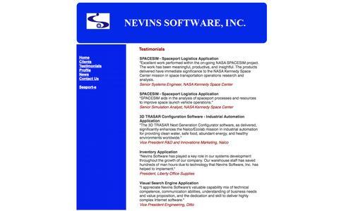 Screenshot of Testimonials Page nevinssoftware.com - Nevins Software - Testimonials - captured Oct. 26, 2014