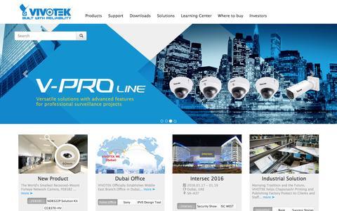 Screenshot of Home Page vivotek.com - VIVOTEK, a total solution provider in the IP surveillance industry - captured Jan. 11, 2016