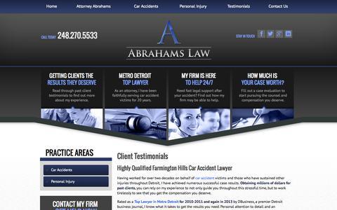 Screenshot of Testimonials Page abrahamslaw.com - Personal Injury Client Testimonials | Abrahams Law - captured Sept. 30, 2014