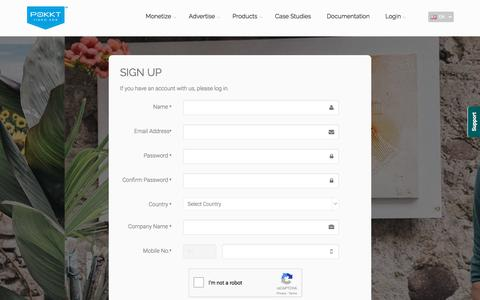 Screenshot of Signup Page pokkt.com - POKKT   Monetization   Advertising    Remarketing   Video - captured Oct. 21, 2017