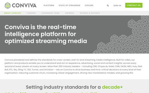 Screenshot of About Page conviva.com - About Conviva | The Real-time Intelligence Platform for Streaming Media - captured Sept. 16, 2019