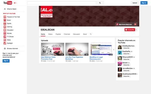Screenshot of YouTube Page youtube.com - IDEALSCAN  - YouTube - captured Oct. 23, 2014