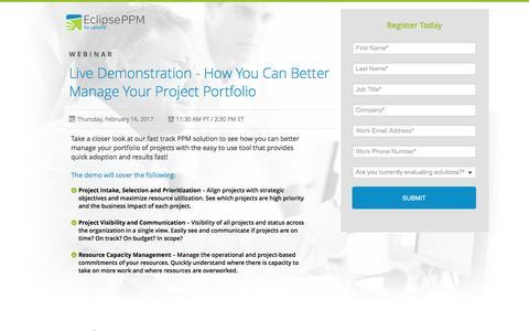Screenshot of Landing Page uplandsoftware.com - Eclipse PPM Webinar: Product Demonstration - captured Feb. 5, 2017