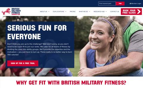 Screenshot of Home Page britmilfit.com - Military & Outdoor Fitness Classes UK   British Military Fitness - captured Feb. 6, 2016