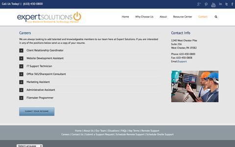 Screenshot of Jobs Page expertsolutionsinc.com - Careers   Expert Solutions, Inc.    Expert Solutions, Inc. - captured July 16, 2016
