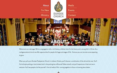 Screenshot of About Page dpcomaha.org - Dundee Presbyterian Church |        About - captured Oct. 5, 2014