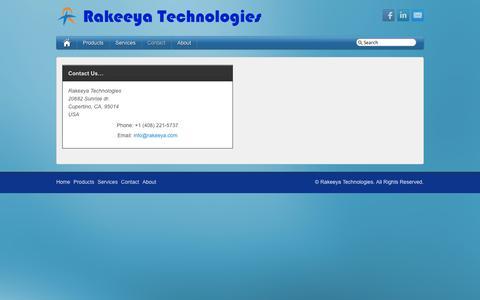 Screenshot of Contact Page rakeeya.com - Rakeeya Technologies -   Contact - captured Oct. 7, 2014