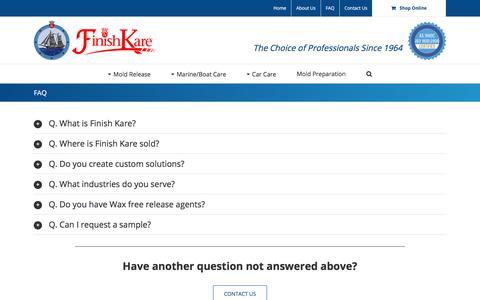 Screenshot of FAQ Page finishkare.com - FAQ - Finish Kare - captured Oct. 13, 2017