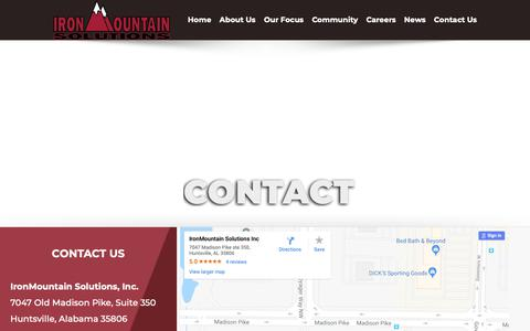 Screenshot of Contact Page ironmountainsolutions.com - Contact Us | IronMountain Solutions | Stay in Touch With Us - captured Dec. 16, 2018