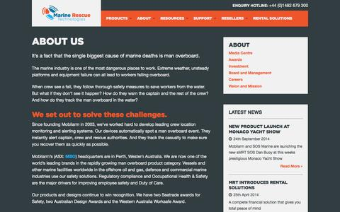 Screenshot of About Page mrtsos.com - About Us - Marine Rescue Technologies - captured Oct. 4, 2014