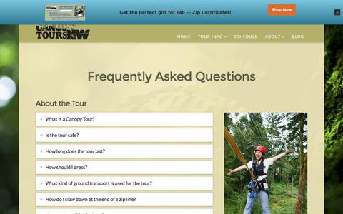 Screenshot of FAQ Page canopytoursnw.com - FAQ - Canopy Tours Northwest - captured Oct. 21, 2016