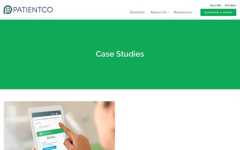Screenshot of Case Studies Page patientco.com - (2) New Messages! - captured June 28, 2019
