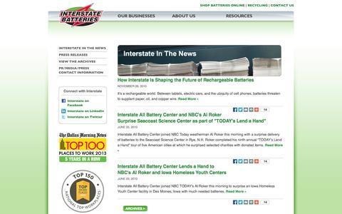 Screenshot of Press Page interstatebatteries.com - Interstate News | Interstate Batteries System of America Inc. - captured Sept. 24, 2014