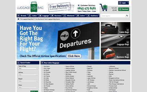 Screenshot of Home Page theluggageandbagshop.co.uk - The Luggage & Bag Shop™  Luggage |  Backpack | Briefcase | Accessories - captured Sept. 30, 2014