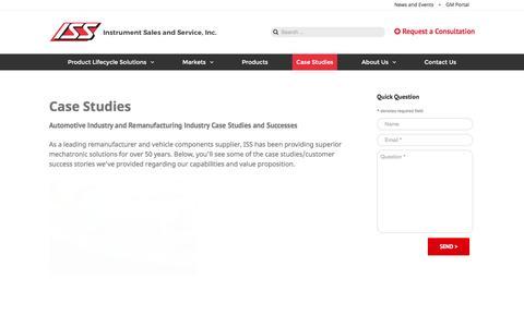 Screenshot of Case Studies Page instrumentsales.com - Studies | Mechatronics Industry | Remanufacturing Industry - captured Feb. 11, 2016
