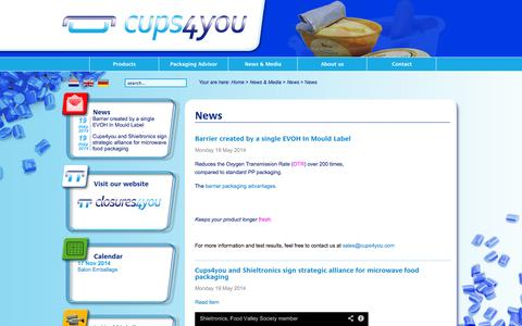 Screenshot of Press Page cups4you.com - News | Cups4you - captured Oct. 3, 2014