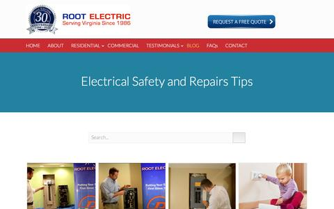 Screenshot of Blog rootelectric.com - Electrical Safety and Repairs Tips - Root Electric Services - captured Dec. 20, 2016