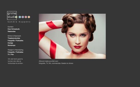 Screenshot of Home Page grimestudio.nl - Grimestudio Sandra Kuppens   Visagie & grime voor o.a. fotografie en theaterproducties - captured Oct. 3, 2014