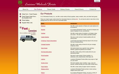Screenshot of Products Page louisianawholesaleflorists.com - Louisiana Wholesale Florists   Our Products - captured Sept. 30, 2014