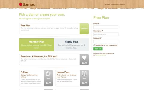 Screenshot of Signup Page tizmos.com - Tizmos for Teachers | Signup - captured Oct. 31, 2014