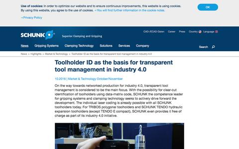 Market & Technology - Toolholder ID as the basis for transparent tool management in industry 4.0
