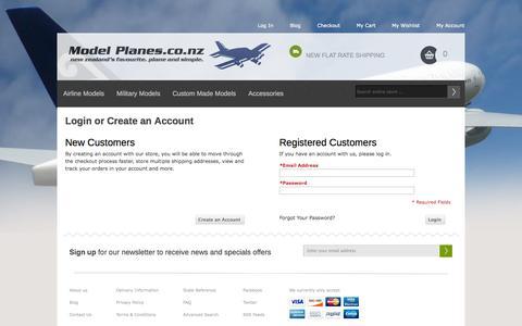Screenshot of Login Page modelplanes.co.nz - Customer Login Model Planes.co.nz - captured Oct. 7, 2014