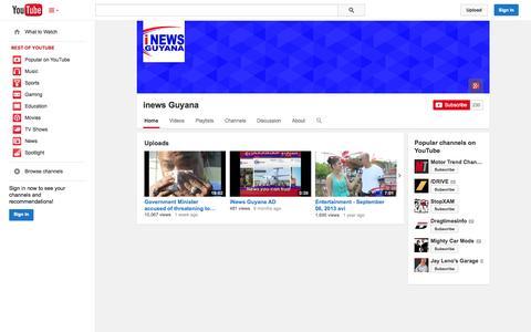Screenshot of YouTube Page youtube.com - inews Guyana  - YouTube - captured Nov. 4, 2014