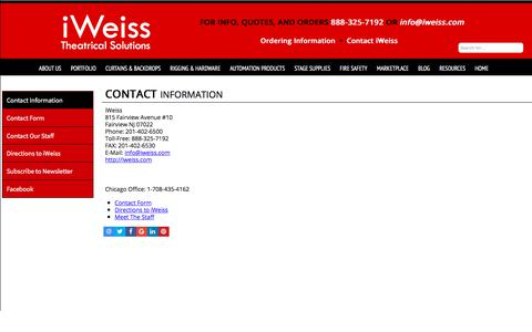 Screenshot of Contact Page iweiss.com - iWeiss Theatrical Solutions  Contact Information - captured Oct. 16, 2017