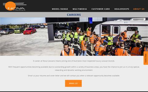 Screenshot of Jobs Page novacaravans.com.au - Careers - Nova Caravans - captured Sept. 21, 2018