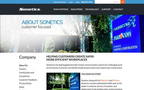 Screenshot of About Page soneticscorp.com - About Us - Sonetics - captured Nov. 7, 2017