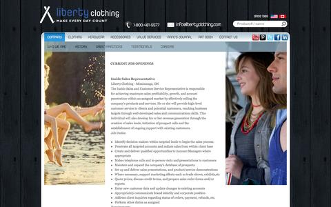 Screenshot of Jobs Page libertyclothing.com - Careers - captured Sept. 30, 2014